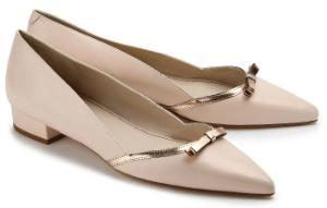 Loafer spitz feminine Form Schleife auf Vorderkappe Rose Uebergroesse