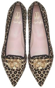 Pretty Loafers LIMITED spitz Leopardenmuster Tiger aus Gold Leo Uebergroesse