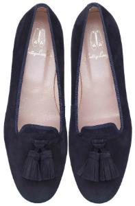 Pretty Loafers Schleife auf der Vorderkappe Blau Uebergroesse