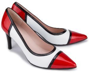 Pumps aus Lackleder in spannender Farbkombination Untergroesse Schwarz Weiss Rot