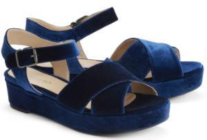 Samt-Sandalen mit breiten Riemen und hervorstechender Sohle Blau Uebergroesse