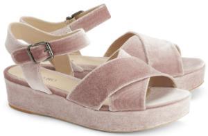 Samt-Sandalen mit breiten Riemen und hervorstechender Sohle Rose Uebergroesse
