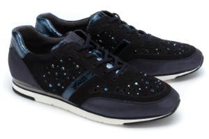 Sneaker Elemente in Metallic-Optik und Strasssteine Blau Uebergroesse