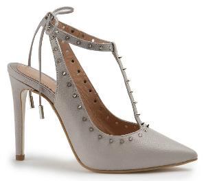 High-Heels mit Stiletto und schmalen Riemchen Grau Uebergroesse