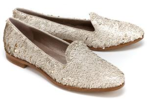 Loafer Allover-Besatz aus Pailletten Gold Uebergroesse