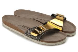 Pantoletten Leder Glitter Metallic-Look 1 Riemen Gold Untergroesse
