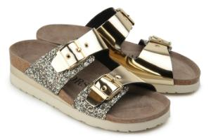 Pantoletten Leder Glitter Metallic-Look 2 Riemen Gold Untergroesse