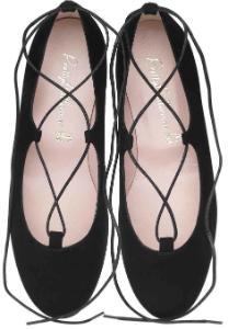 Pretty Ballerinas Lace-Up aus Veloursleder mit Schnuerung rund Schwarz Untergroesse