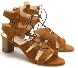 Sandalen in Groesse 45 Fransen Braun