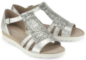 Sandalen in Groesse 45 Metallic-Optik G-Weite Silber