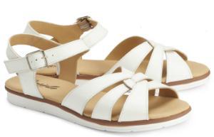 Sandalen mit ueberkreuzten Riemen aus weichem Nappaleder und leichter Sohle Weiss Uebergroesse