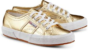 Superga Sneaker Canvas Metallic-Finish Gold Uebergroesse