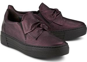 Bordeaux Metallic Slip-on Sneaker mit Schleifen-Detail fuer Damen