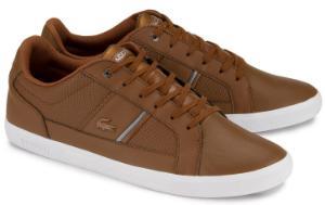 Braune Sneaker aus Glattleder und Praegeleder von Lacoste in Uebergroessen