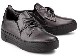Dunkelgrau Metallic Slip-on Sneaker mit Schleifen-Detail fuer Damen