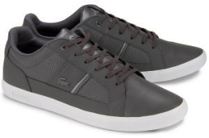 Graue Sneaker aus Glattleder und Praegeleder von Lacoste in Uebergroessen