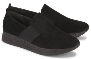 Schwarze Slip-on Slipper mit leichter Glitzer Gummisohle