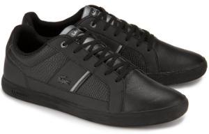 Schwarze Sneaker aus Glattleder und Praegeleder von Lacoste in Uebergroessen