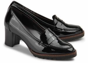 Trotteur Schuhe fuer Damen Lack-Optik Schwarz