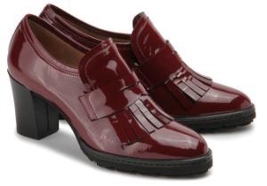 Trotteur Schuhe fuer Damen Lackleder Fransen Bordeaux