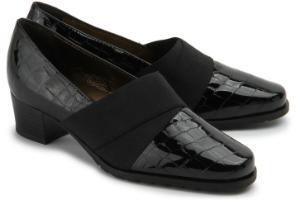 Trotteur Schuhe fuer Damen Lackleder mit Animal-Struktur Schwarz