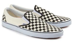 Weiss Schwarze Slip-on Sneaker aus Canvas fuer Damen
