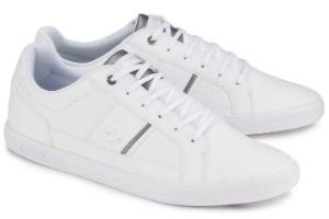 Weisse Sneaker aus Glattleder und Praegeleder von Lacoste in Uebergroessen