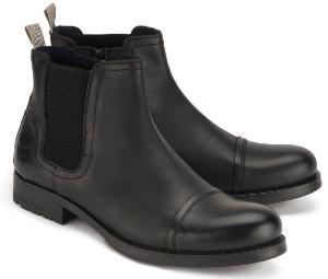 Chelsea-Boots Nappaleder Stretch-Einsaetze Schwarz Uebergroesse