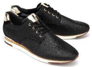 Gabor Sneaker mit goldfarbenen Elementen in Uebergroessen Schwarz