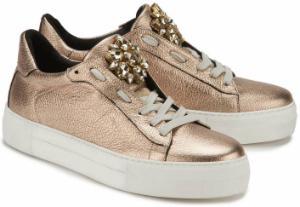 Plateau-Sneaker mit Schmucksteinbesatz in Uebergroessen Kupfer Bronze Metallic