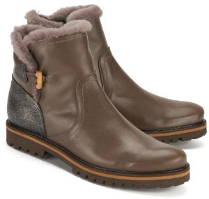 Boots mit Fellkragen in Uebergroessen Leder Lammfell Taupe Braun