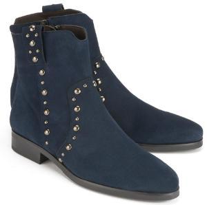 Damen-Stiefeletten mit Nieten in Uebergroesse von Bariello Milano Blau Rock Chic