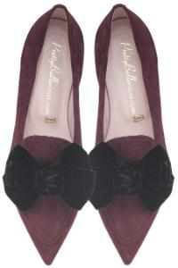 Pretty Ballerinas Slipper in Uebergroessen mit Schleifen-Applikation Bordeaux