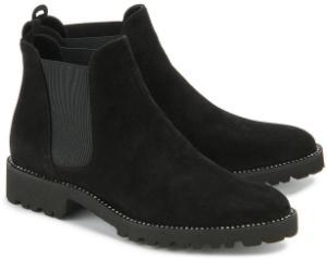 Chelsea-Boots mit Strass-Stein-gerahmter Sohle in Uebergroessen Schwarz