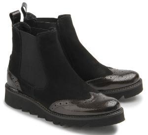Extravagante Winter Chelsea Boots fuer Damen in Uebergroesse Schwarz