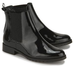 Glaenzende Winter Chelsea Boots fuer Damen in Uebergroesse Schwarz
