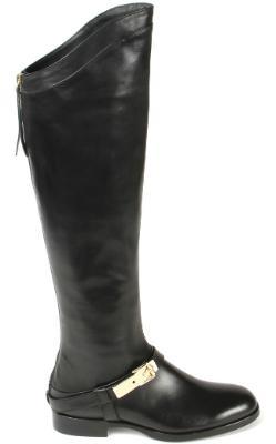 Overknee Stiefel mit Schnalle und Lederriemen in Uebergroessen Groesse 43 Schwarz Horsch Exklusiv