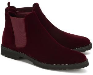 Samtige Winter Chelsea Boots fuer Damen in Uebergroesse Bordeaux-Rot