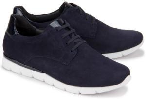 Semler Sneaker H-Weite in Uebergroessen mit Lacklederelementen Blau