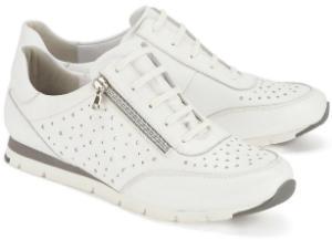 Semler Sneaker H-Weite in Uebergroessen mit silberfarbenem Reissverschluss an der Seite Weiss