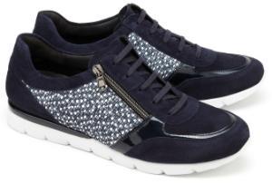 Semler Sneaker H-Weite in Uebergroessen mit sommerlichem Druck Blau