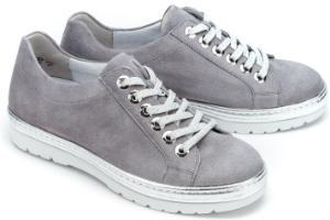 Semler Sneaker in Weite G mit silberfarbenem Rahmen aus Leder Uebergroessen Grau