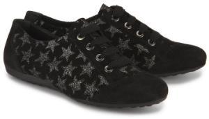 Semler Sneaker in Weite G mit silberfarbenen Glitterpartikel in Sternenform Uebergroessen Schwarz