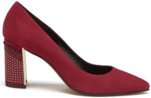 Damen Pumps funkelndes Absatz-Design mit Nieten und Steinen Groesse 45 Rot Uebergroesse