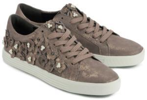 Luxus Sneaker mit Blumenapplikation von Kennel und Schmenger in Uebergroessen Rose Bronze Metallic