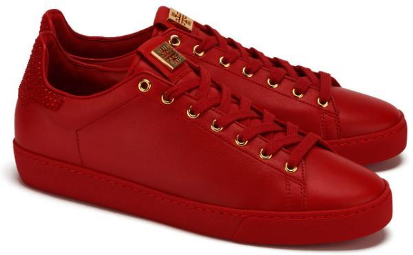 Rote Hoegl Sneaker in Uebergroessen mit Swarovski Kristalle auf der Hinterkappe