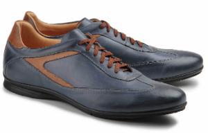 Sneaker aus Nappaleder in Untergroessen Blau Braun