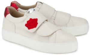 Plateau-Sneaker in Uebergroessen mit Rosenbesatz von Rossaro Weiss