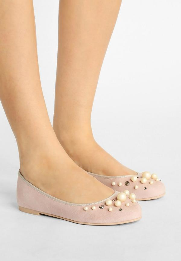 Pretty Ballerinas mit Perlen- und Schmucksteinbesatz in Uebergroessen Rose
