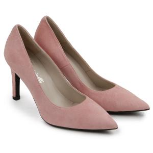 Pumps aus Nubukleder in Uebergroessen Rose